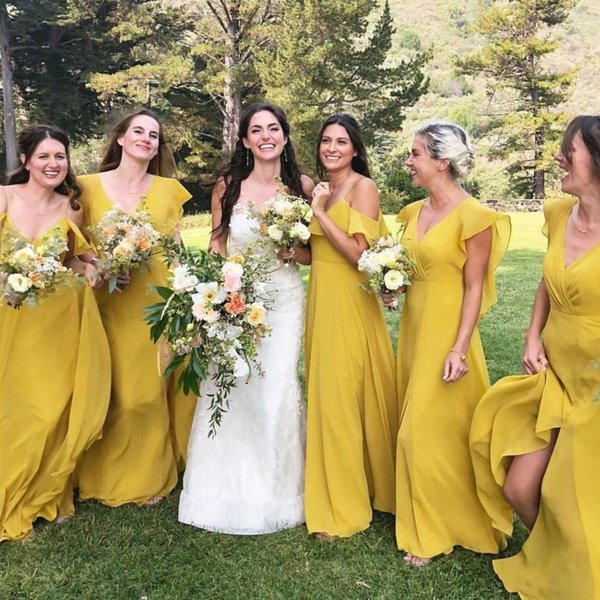 2019 Olive Long Bridesmaid Dresses V Neck Bohemian Country side Bridesmaids Couture Sweep Train Plus Size Chiffon After Party Gowns BC0948