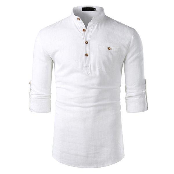 Algodón-Lino Camisas para hombre de manga larga Cuello de solapa Sólido Tops para hombre con bolsillos Moda masculina