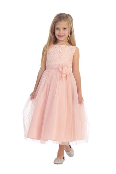 2019 Blush Pink Designer Kids Dresses Tulle Bateau Neckline Flower Belt Ankle Length Lace Formal Wear Girls Party Gowns