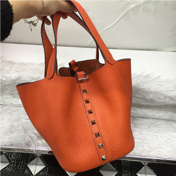 Elegant2019 Leather Genuine Rivet Basket 18cm Long Straps Bucket Package Single Shoulder Portable Diagonal Ma'am Bag