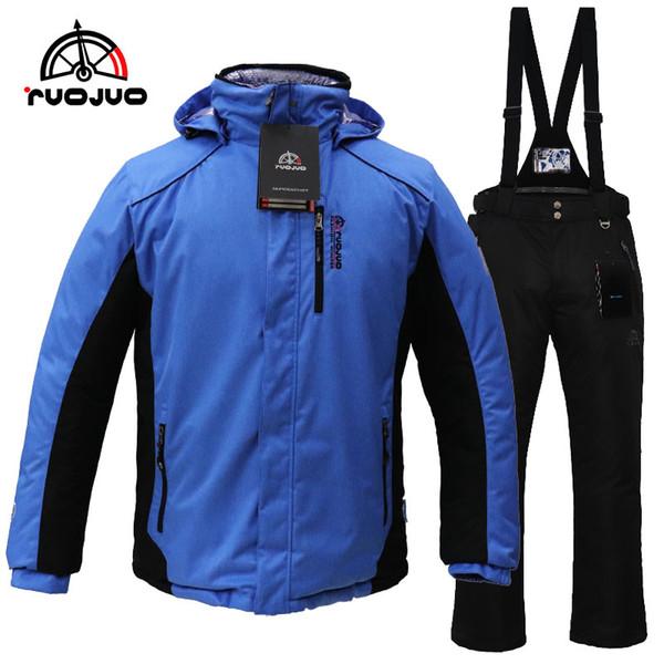RUOJUO New Mountaineering Man Ski Suit Hot Male Snowboard Sport Sets Winter Wear Warm Proof Waterproof Breathable RZS529M