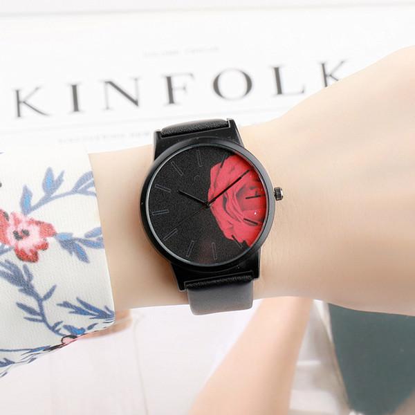 Semplice moda senza scala casuale stampa floreale quadrante Cintura quarzo femminile donna orologi da polso orologio da polso regali da polso Parte