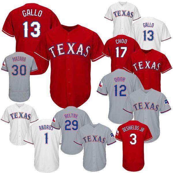 Jerseys de béisbol de Texas para hombre Rangers 1 Elvis Andrus 3 Delino DeShields Jr 7 Ivan Rodriguez 13 Joey Gallo 12 Rougned Odor 29 Adrian Beltre