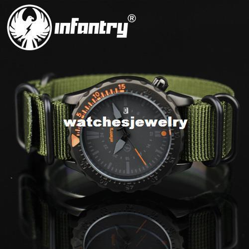 -Francia Al aire libre Ejército de EE. UU. Fecha de los hombres Reloj analógico de cuarzo analógico deportivo de tela de nylon verde