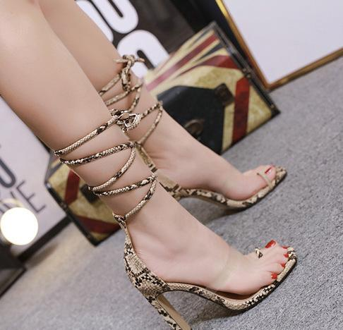 Alluring2019 Spelling Snake Square Color Foot Ring Bandage High With Rome Shoe Sandals 626-3