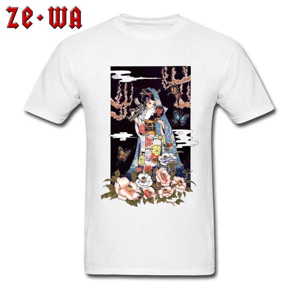 Tops Men T Shirt Japan Geisha White Tshirt Graphic Design Clothes Classic Short Sleeve 100% Cotton O-Neck T-shirts Casual Tees