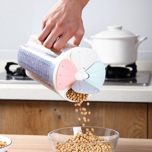 2/3/4Grids Rotating Plastic Cereal Dispenser Storage Box Kitchen Rice Container Storage Case Flour Grain Bottle Jar