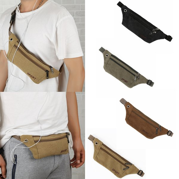 4styles Canvas Waist Pack outdoor sport Leisure Mobile Phone earphone Zipper Storage Bags Shoulder Bag Wallet Purse jogging coin bag FFA1807