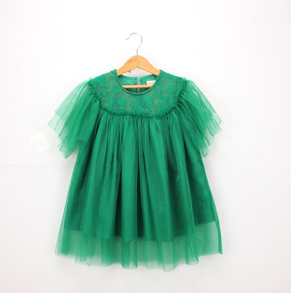 2019 Summer Kids lace tulle dress shirt girls lace gauze embroidery princess tops children round collar short sleeve party dresses F4968