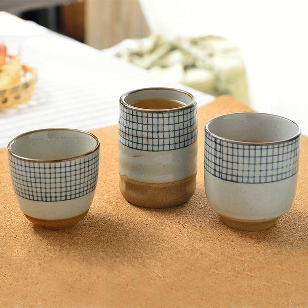 modello reticolare dipinto coppe di vino bicchier d'acqua originalità della tazza di caffè Retro grossa tazza di ceramica tazza zuppa giapponese a mano in ceramica