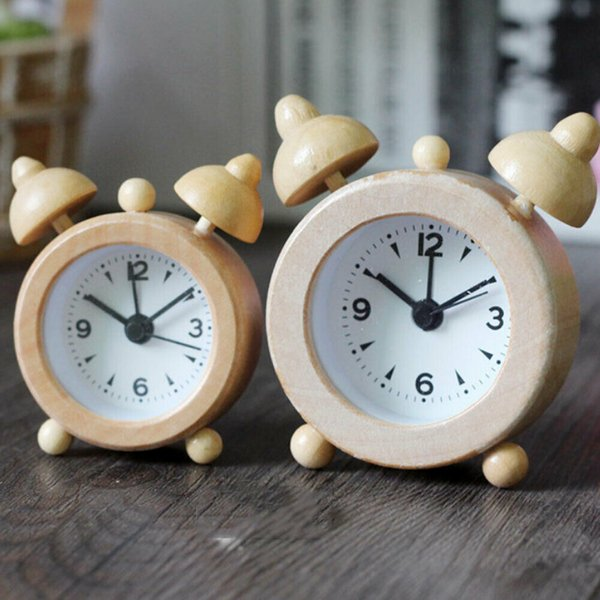 wooden log round classic small silent table snooze log alarm clock time desk table small travel clock bell battery