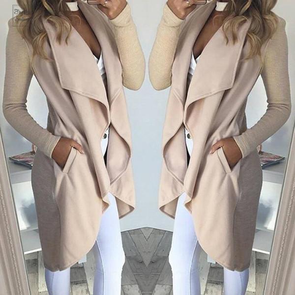 Herbst-Baumwolljacke Blends Taschen Langarm Reverskragen-Mantel-dünne Frauen beiläufige Overcoat Oberbekleidung Schlank Blusas Plus Size