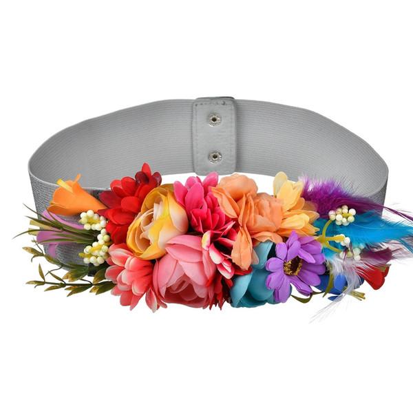 Mode Frauen Elastische Breite Korsett Gürtel Für Frauen Glas Kristall Ceinture Damen Dünne Blume eingelegten Gürtel Taille Gürtel BW29