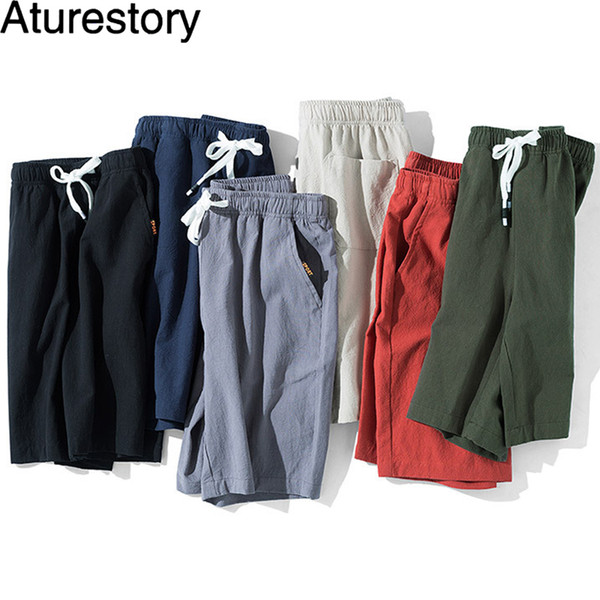 Pantalones cortos de algodón de lino Aturestory para hombres de verano Casual Fitting Board corto para hombre de color puro Sportwear pantalón corto Bermudas MX190718