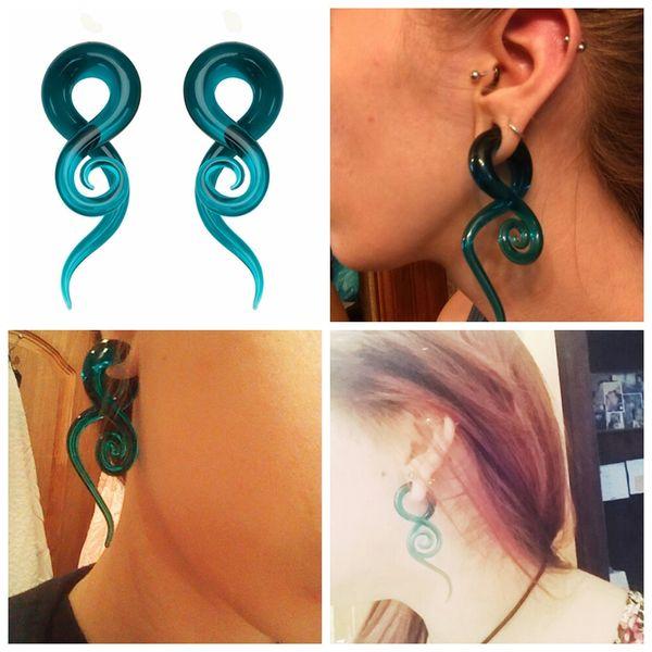 MODRSA 2 unids / lote Cristal Espiral Taper Tapones para los Oídos y Túneles Flesh Ear Gauge Estiramiento Expander Piercings Joyas Corporales