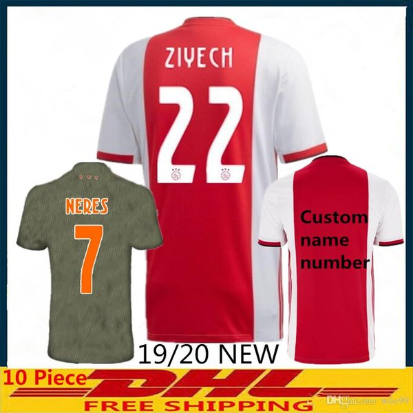 Ajax-home jersey 2019-2020 Adult soccer jersey DE JONG DE LIGT ajaxa msterdam camiseta fútbol jersey NERES 2019 camisa futebol TADIC ZIYECH