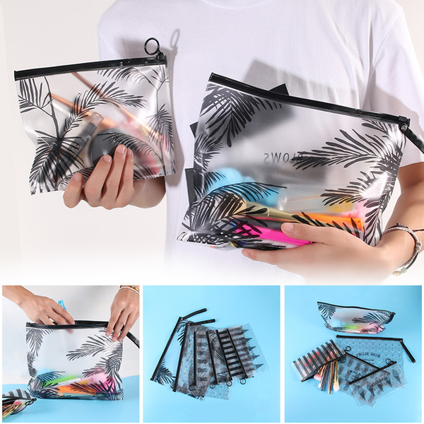 Summer Vacation Necessary Travel Clear Cosmetic Bag 2018Hot Sell Toiletry Holder PVC Coconut Tree Makeup Organizer Storage Pouch