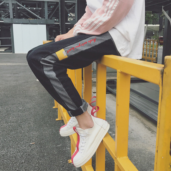 Spring Autumn 2020 elastic waist denim jeans male letter printed students casual slim pants hit color stitching youth trousers