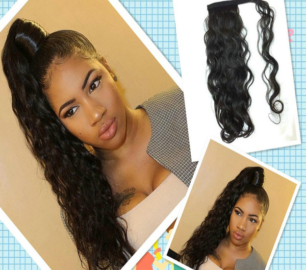 140g wavy curly human pony tail hairpiece clip in wraps around drawstring human hair ponytail hairpiece easy wearing 10-22inch