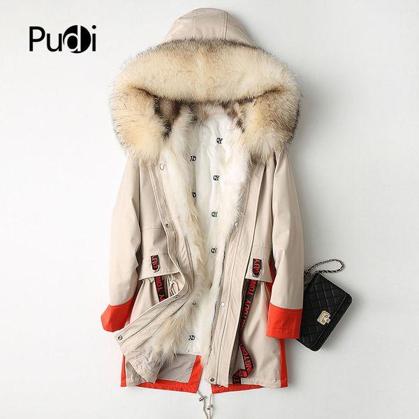 PUDI A68233 Real polyester parka coat jacket overcoat women's winter raccoon fur collar warm coat 2018 fall winter coat