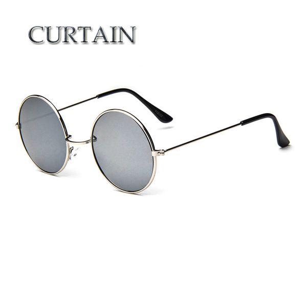 CURTAIN New Brand Designer Classic Round Sunglasses Men Vintage Retro John Lennon Glasses Women Driving Metal Eyewear -LD032