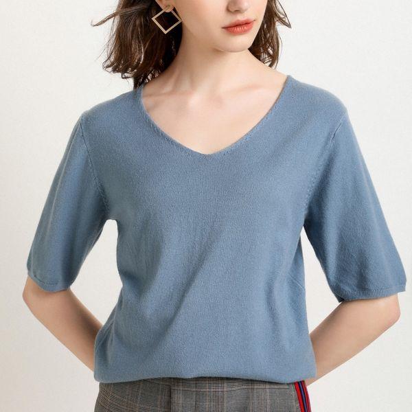 2019 spring knit short-sleeved bottoming shirt women knit T-blouse female V-neck smock top Slim half-sleeve sweater