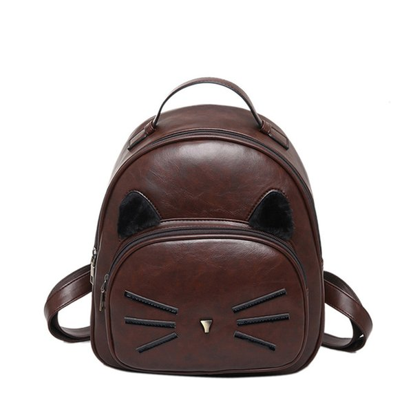 Sacchetti di scuola della spalla del gatto sveglio dello zaino di cuoio dell'unità di elaborazione per gli adolescenti Mini borsa femminile Nuovi zaini delle donne degli studenti della primavera e dell'estate