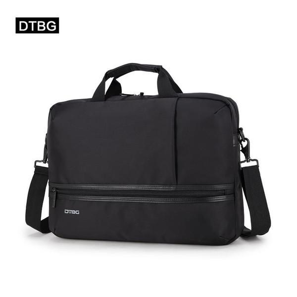 DTBG Classic Laptop Briefcase Men Women Business Bag Two Leather Stripe Shoulder Bags Office Messenger Cartera Maleta Sac Homme