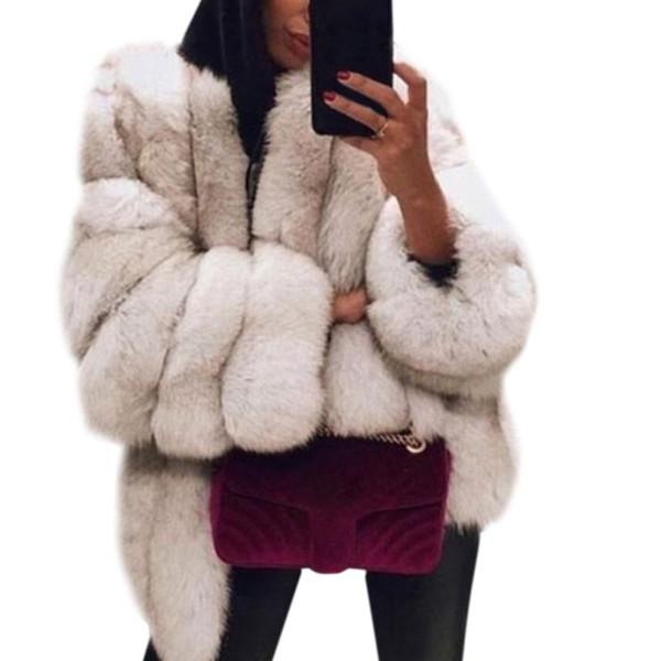 Frauen verdickte Kunstpelz Plain Mantel einfarbig lange Ärmel vorne offen Brot Jacke Mantel Luxus elegant lose lose Oberbekleidung