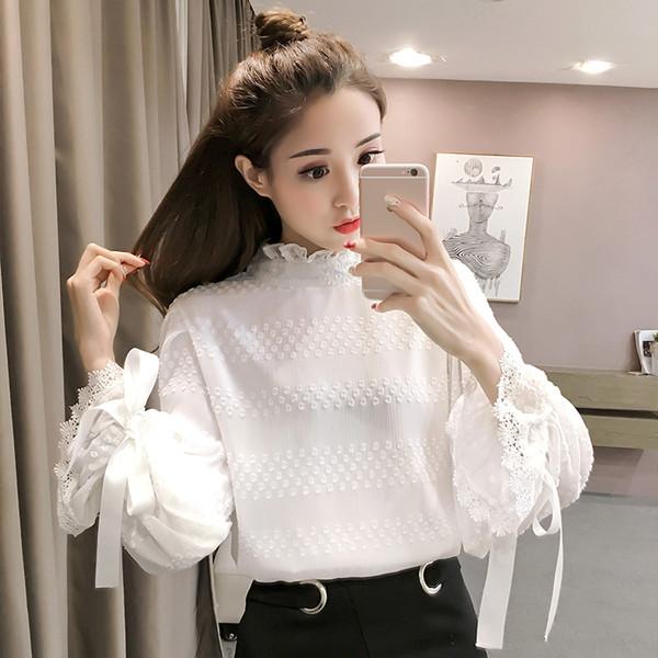Spring Korean Style Lantern Sleeves Women Blouse White Sweet Chiffon Shirt Female Loose Top 2998LY