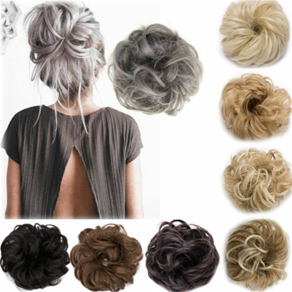 2019 Новой шт Горячих мод завитого Грязного Bun волоса Scrunchie Updo Сопроводительное Наращивание волос Real как человек
