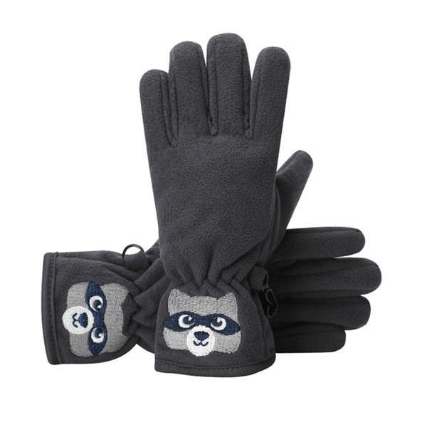 Guantes para niños de dibujos animados de invierno oso bordado de doble capa antideslizante a prueba de viento al aire libre Guantes térmica para bebés niñas EKN98