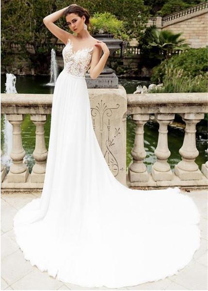 See Through Princess Long Train Beach Vestido de Noiva Lace Appliques Chiffon A-line Wedding Dress Sexy Summer Boho Bridal Gowns Romantic