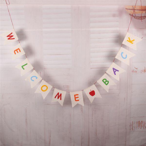Партия Письмо Тянуть Флаг Обратно В Школу Школа Партия Мультфильм Яблоко Рыбий Хвост Флаг Хлопок Белье Цвет Письмо Печать Баннер