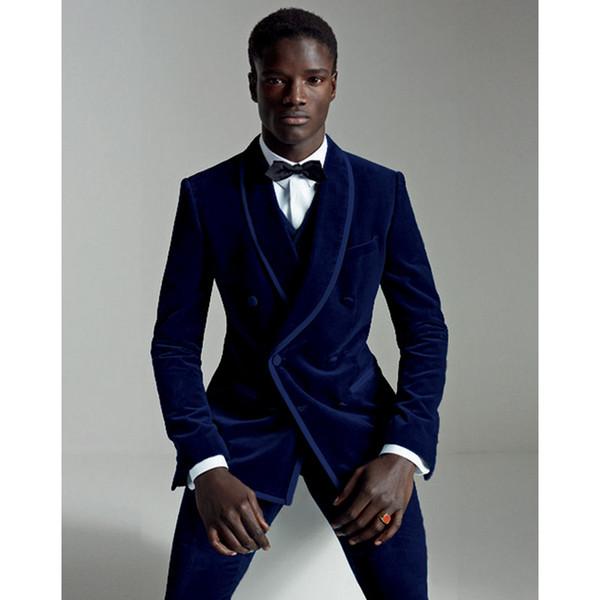 2017 Terno Masculino Blu Navy Velour Slim Fit Suit uomo Set sposo Smoking in velluto Prom Abiti da sposa Regular (Jacket + Pants + Vest)