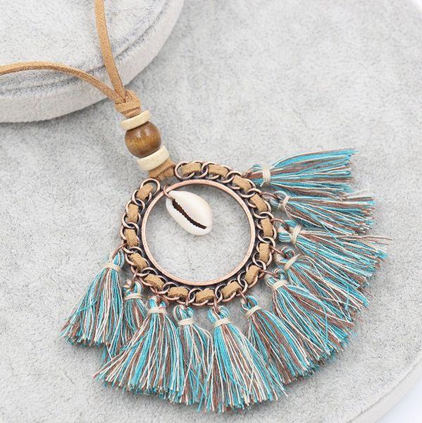 5pcs/lot Round CircleTassel Shell Charm Necklace Boho Statement Sweater Chain Ethnic Fashion Jewelry