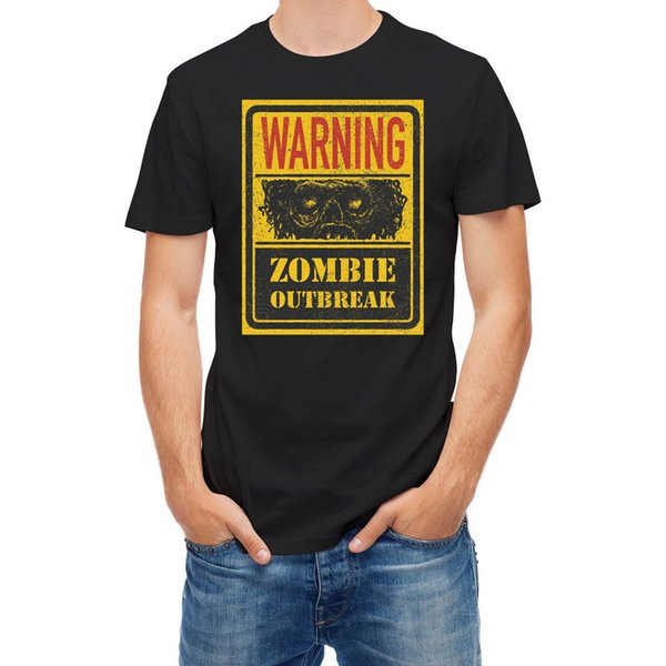 2017 Nueva Advertencia Zombie Outbreak 25222 3d Impreso Hombre 100% Algodón Camiseta de Manga Corta Camisetas de Alta Calidad
