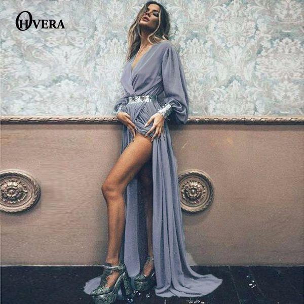 Ohvera Maxi largo de las mujeres de verano de gasa de alta derramado Sexy fiesta vestido de playa bohemia vestidos elegantes vestidos Q190511