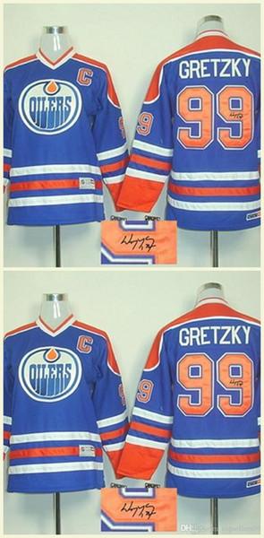 Sıcak satış 100% Dikişli İmzalı Formalar İmza Geldi Kapıya Vergi Yok # 99 Wayne Gretzky Mavi hokey formaları