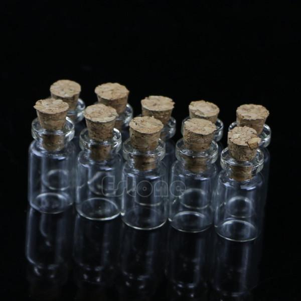 10pcs Mini Glass Wish Bottle Vial with Cork Stopper Storage Pendant 0.5/1/2/20mL