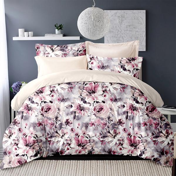 Bedding Set Flowers Leaves print Duvet Cover Bed sheet set bedlinen Pillowcases