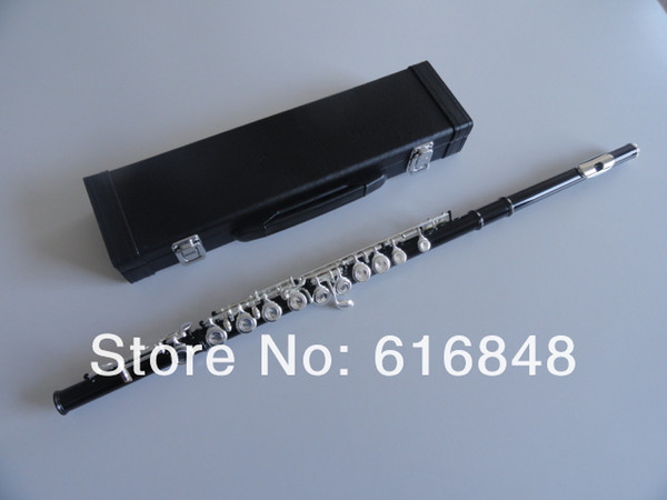 Free Shipping Students 16 Key Hole Close E Key Flute Unique Black Body Silver Plated Key C Tune Instrument Flute With Case Free Shipping