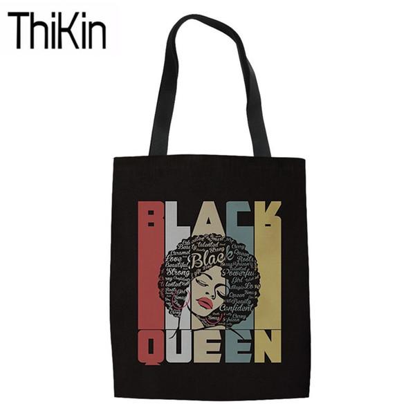 THIKIN Shopping Bags for Women Black Art African Girls Impression de grands sacs à bandoulière dames toile sac fourre-tout sac Teen Girls livre