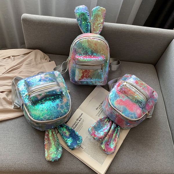 Sequin rabbit backpack star Outdoor sports colorful backpack travel school stuff bags student fashion baby girl storage bags FFA2781
