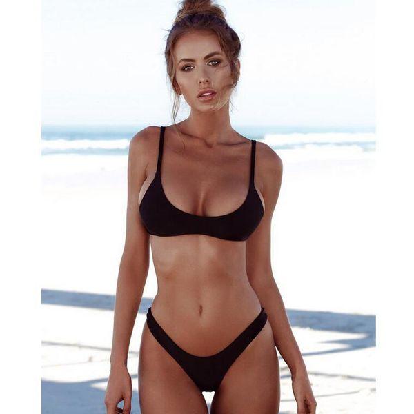 Swimsuit new bikinii split nylon large size solid color bikini ladies sexy swimming equipment S,M,L,XL,XXL