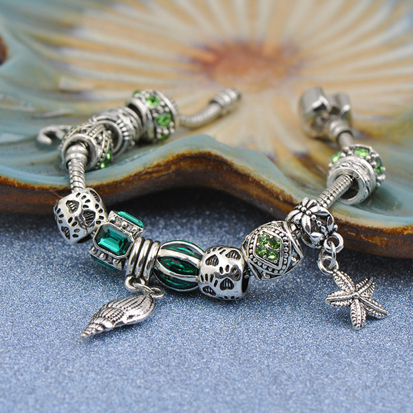 2019 Cheap Cuff Bracelets Fit Pandora Women Bangle Silver Openwork Spacer Charms Beads Hollow Starfish Conch Pendant Green Cubic Zircon Best