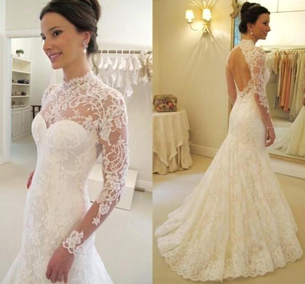 Mermaid High-Collar Long Sleeve Lace Wedding Dresses 2019 robe de mariee Sheer Illusion Neck Open Back Vintage Wedding Dress Bridal Gowns