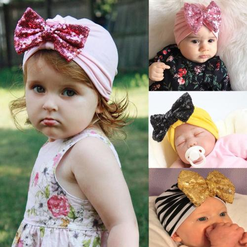 Christmas Hats Baby Girls Infant Striped Soft Hat with Bow Cap Hospital Newborn Beanie Diomand Hot Cotton With Big Paillette Bow
