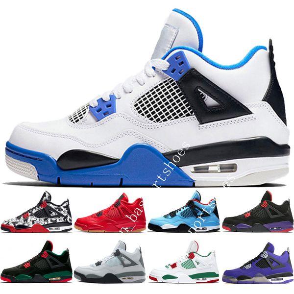 4 4s Tattoo Singles Day Mens Basketball Shoes Travis Scotts Raptors Bred White Cement Royalty Eminem men sport sneakers designer size 5.5-13