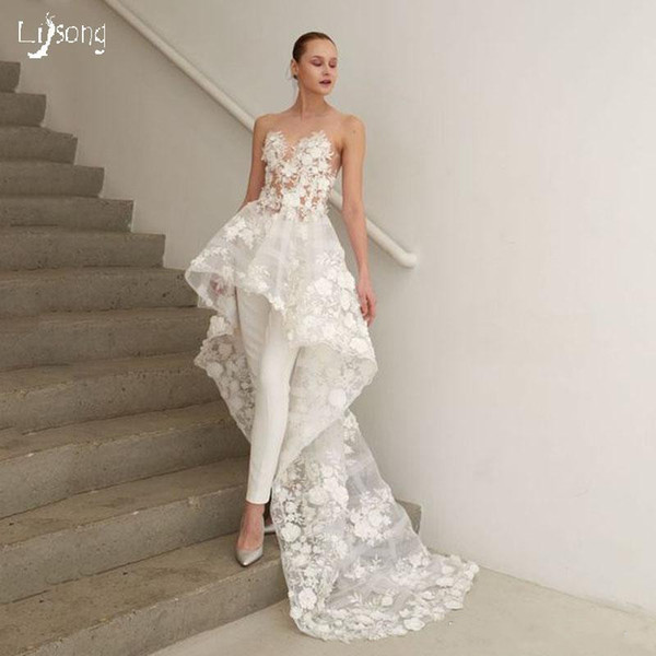 Gorgeous Floral White Jumpsuits Wedding Dresses High Low Lace Appliqued Beach Sexy Country Style Plus Size Wedding Dress Bridal Gowns